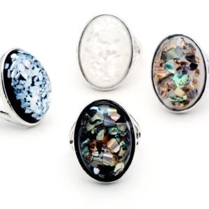 Black Abalone Shell Oval Platinum Statement Ring
